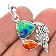 7.41cts natural blue turquoise azurite coral 925 silver seashell pendant t38396