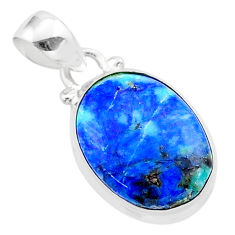 12.60cts natural blue turquoise azurite oval 925 sterling silver pendant t37492