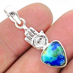 4.54cts natural blue turquoise azurite silver hand of god hamsa pendant t38339