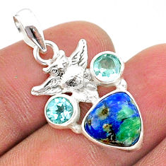 6.80cts natural blue turquoise azurite topaz 925 silver owl pendant t38359