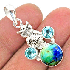 7.49cts natural blue turquoise azurite topaz 925 silver owl pendant t38372