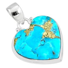 13.15cts natural blue turquoise pyrite 925 silver pendant jewelry r78133