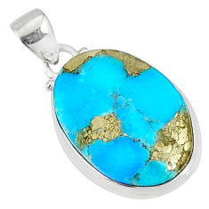 13.62cts natural blue turquoise pyrite 925 silver pendant r78145