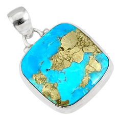13.70cts natural blue turquoise pyrite 925 silver pendant r78148