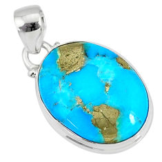 10.62cts natural blue turquoise pyrite 925 silver pendant r78163