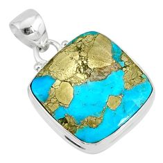 14.68cts natural blue turquoise pyrite 925 silver pendant r78166