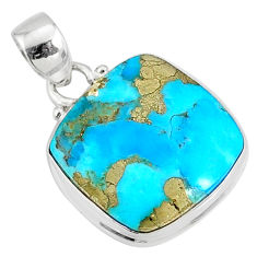 12.58cts natural blue turquoise pyrite 925 silver pendant r78185
