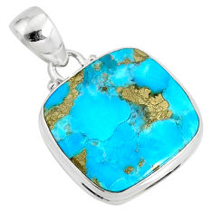 14.20cts natural blue turquoise pyrite 925 silver pendant r78190