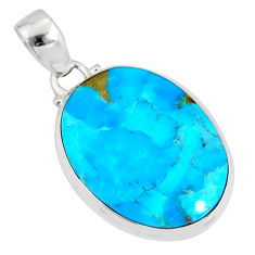 15.65cts natural blue turquoise pyrite 925 silver pendant r78197