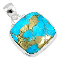 12.58cts natural blue turquoise pyrite 925 silver pendant r78198