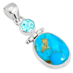 10.76cts natural blue turquoise pyrite blue topaz silver pendant r78227