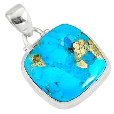 12.18cts natural blue turquoise pyrite cushion silver pendant r78157