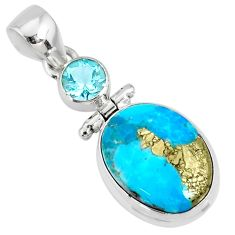 11.20cts natural blue turquoise pyrite oval topaz silver pendant r78215