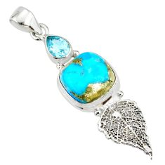 7.12cts natural blue turquoise pyrite silver deltoid pendant r78087