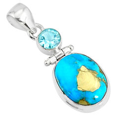 11.07cts natural blue turquoise pyrite topaz 925 silver pendant r78208