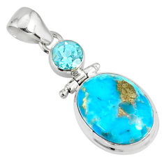 11.07cts natural blue turquoise pyrite topaz 925 silver pendant r78210