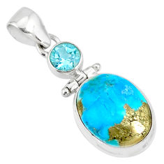 11.15cts natural blue turquoise pyrite topaz 925 silver pendant r78213