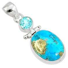 11.64cts natural blue turquoise pyrite topaz 925 silver pendant r78225