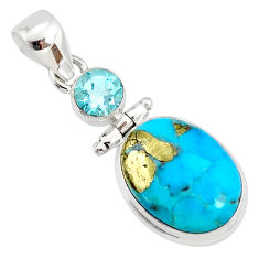 11.04cts natural blue turquoise pyrite topaz 925 silver pendant r78321