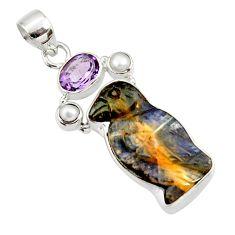 16.70cts natural boulder opal carving amethyst 925 silver penguin pendant d44642