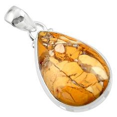 Natural brecciated mookaite (australian jasper) 925 silver pendant r46418