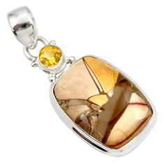 Clearance Sale- 16.54cts natural brecciated mookaite (australian jasper) silver pendant d41961