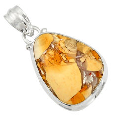 Clearance Sale- 14.72cts natural brecciated mookaite (australian jasper) silver pendant d42102