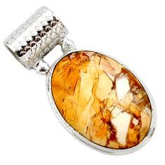 15.05cts natural brecciated mookaite (australian jasper) silver pendant r27606