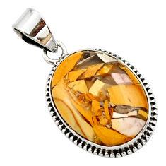 14.72cts natural brecciated mookaite (australian jasper) silver pendant r27607
