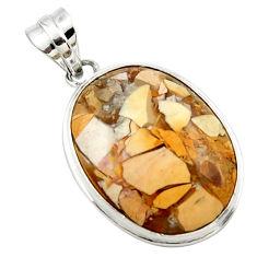 16.73cts natural brecciated mookaite (australian jasper) silver pendant r27612