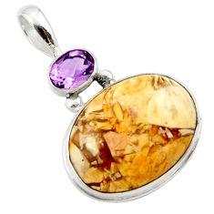 17.57cts natural brecciated mookaite (australian jasper) silver pendant r27613