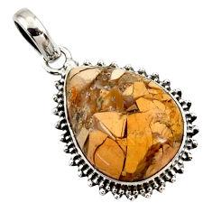 16.20cts natural brecciated mookaite (australian jasper) silver pendant r27639