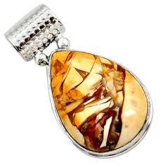 19.65cts natural brecciated mookaite (australian jasper) silver pendant r27782