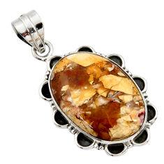 18.15cts natural brecciated mookaite (australian jasper) silver pendant r27792