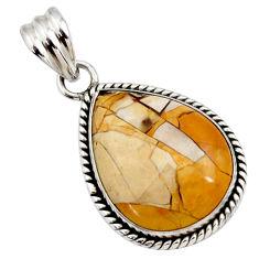18.15cts natural brecciated mookaite (australian jasper) silver pendant r27901