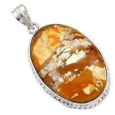 28.30cts natural brecciated mookaite (australian jasper) silver pendant r30559
