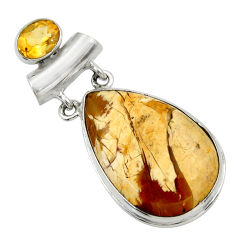 24.38cts natural brecciated mookaite (australian jasper) silver pendant r31904