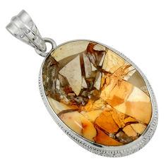 20.88cts natural brecciated mookaite (australian jasper) silver pendant r31907