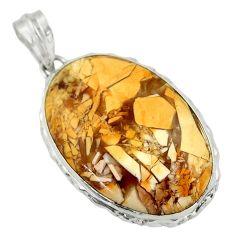 25.57cts natural brecciated mookaite (australian jasper) silver pendant r31916