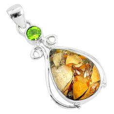 12.22cts natural brecciated mookaite (australian jasper) silver pendant r94321