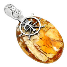 Clearance Sale- 21.01cts natural brecciated mookaite 925 silver pendant r90876