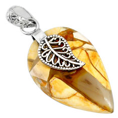 18.18cts natural brecciated mookaite jasper silver deltoid leaf pendant r90866