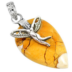 17.25cts natural brecciated mookaite silver angel wings fairy pendant r90869