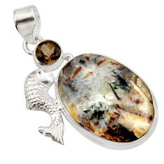 Clearance Sale- 22.05cts natural bronze astrophyllite (star leaf) 925 silver fish pendant d42029