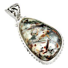 28.30cts natural bronze astrophyllite (star leaf) 925 silver pendant r20014