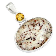 22.87cts natural bronze astrophyllite (star leaf) 925 silver pendant r20162