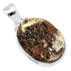 14.60cts natural bronze astrophyllite (star leaf) 925 silver pendant r85943