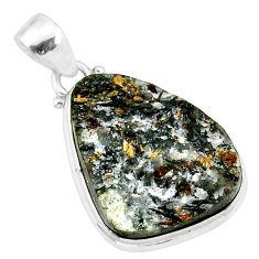 15.65cts natural bronze astrophyllite (star leaf) 925 silver pendant r85948