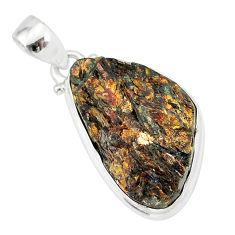 16.20cts natural bronze astrophyllite (star leaf) 925 silver pendant r85954