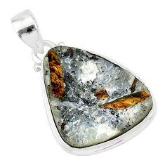 13.15cts natural bronze astrophyllite (star leaf) 925 silver pendant r85955